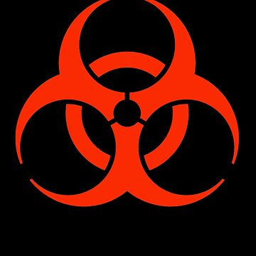 BIO HAZARD, Warning, Biohazard symbol, Biological hazard, Red on Black by TOMSREDBUBBLE