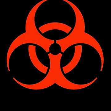 BIO HAZARD, Warning, Biohazard symbol, Biological hazard, Red on Black by TOMSREDBUBBLE