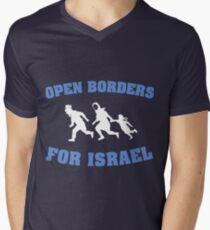 Offene Grenzen für Israel T-Shirt mit V-Ausschnitt