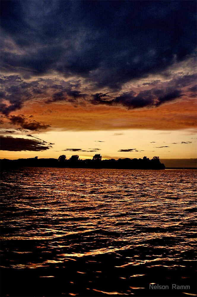st. lawrence river veiw from wolfe island across to kingston by Nelson  Ramm