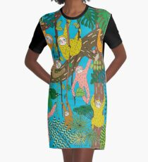 Happy Sloths Jungle  Graphic T-Shirt Dress