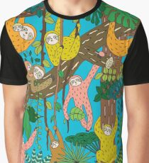 Happy Sloths Jungle  Graphic T-Shirt