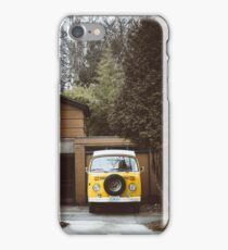 Old VW Camper Van In Driveway iPhone Case/Skin