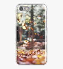Stunning Falling Autumn Leaves Photograph iPhone Case/Skin
