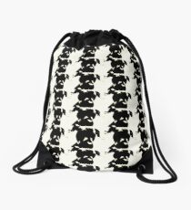 Silhouette of Pit Bull Drawstring Bag