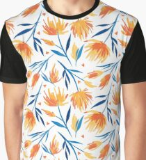 Bright orange and yellow flowers pattern with blue leaves Graphic T-Shirt