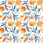 Bright orange and yellow flowers pattern with blue leaves by yashroom
