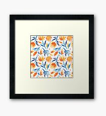Bright orange and yellow flowers pattern with blue leaves Framed Print