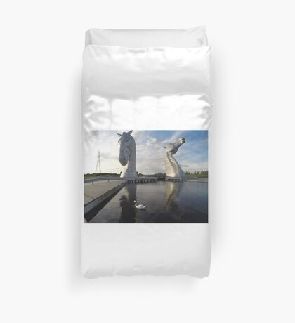 The Kelpies sculptures at the Helix Park in Falkirk  Duvet Cover