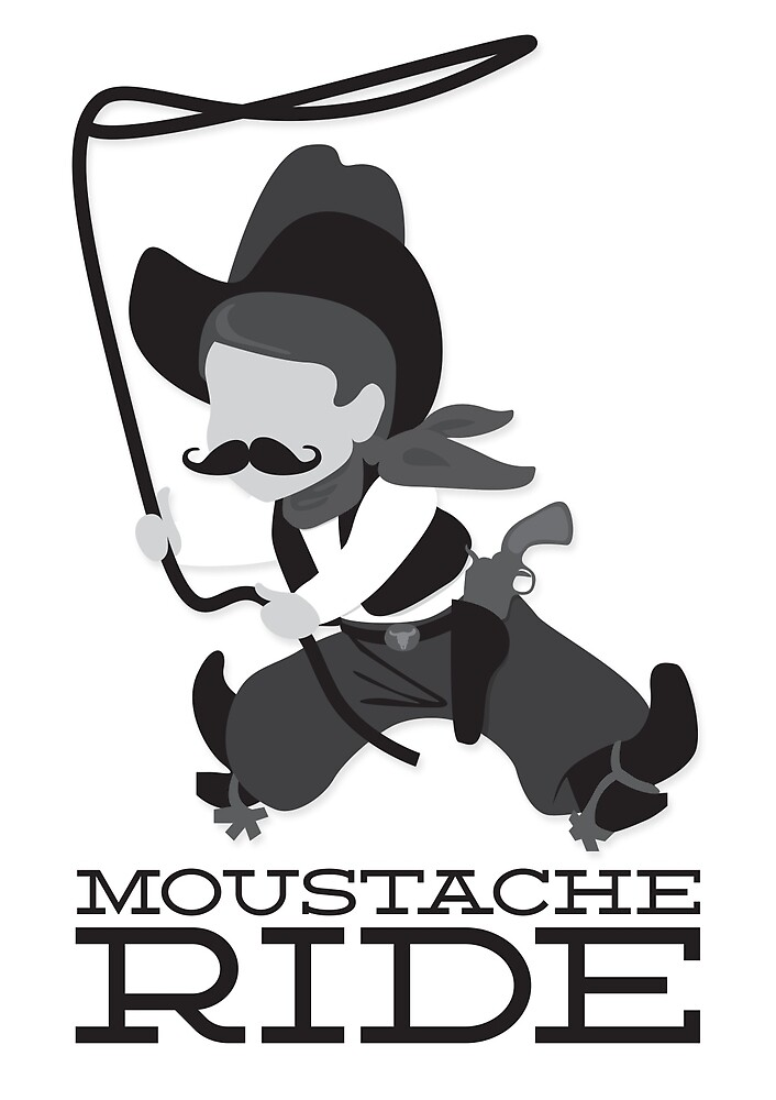 moustache riding cowboy by hellomalcolm