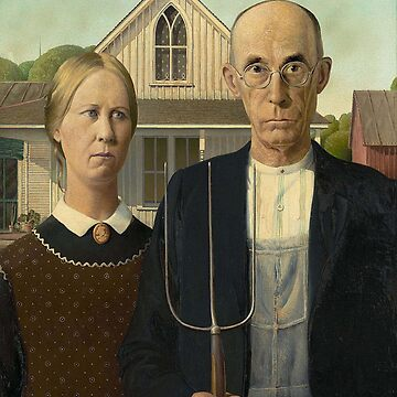 American Gothic, American, Gothic, Painting by, Grant Wood, Art Institute of Chicago. on BLACK by TOMSREDBUBBLE