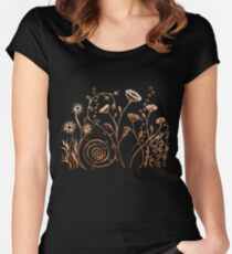 Pen and Ink Floral Doodle Art - Tan and Brown Women's Fitted Scoop T-Shirt