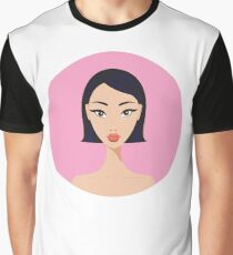 Cute stylish young Asian girl portrait on pink background Graphic T-Shirt