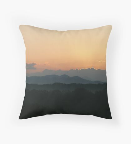 Foggy Mountain Sunrise Throw Pillow