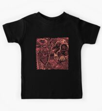 Pen and Ink Doodle Art - Red and Orange Kids Tee
