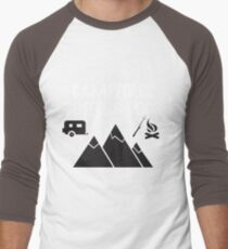 Camping Funny Design - Campfires Coffee And Dogs Men's Baseball ¾ T-Shirt