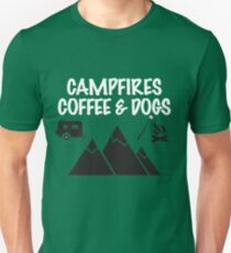 Camping Funny Design - Campfires Coffee And Dogs T-Shirt
