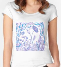 Whimiscal Floral Doodle Art Design - Lavender and Blue Women's Fitted Scoop T-Shirt