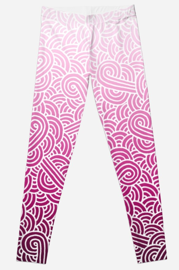 Quot Ombre Pink And White Swirls Doodles Quot Leggings By
