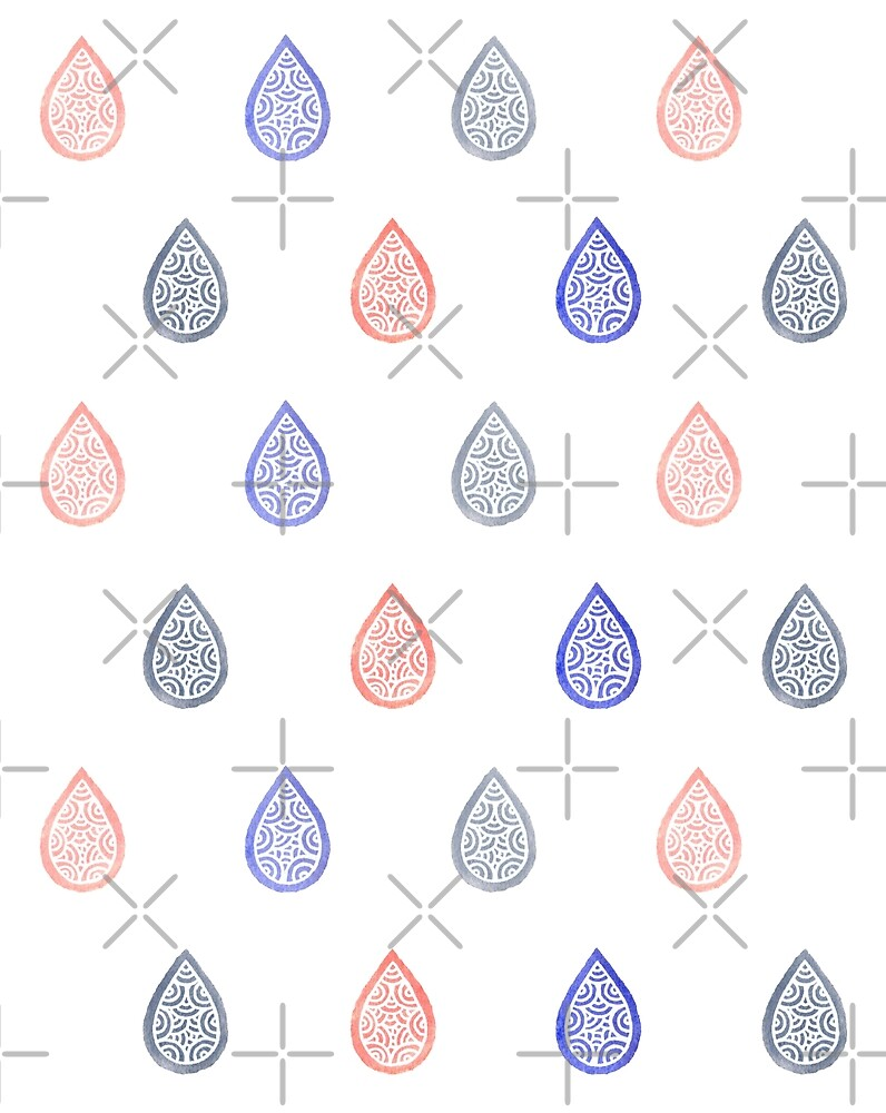 Rose quartz, serenity blue and lilac grey raindrops by savousepate