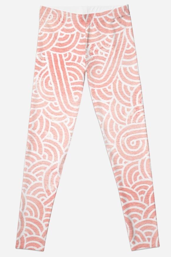 Quot Rose Quartz And White Swirls Doodles Quot Leggings By