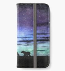Aurora borealis and polar bears (dark version) iPhone Wallet/Case/Skin