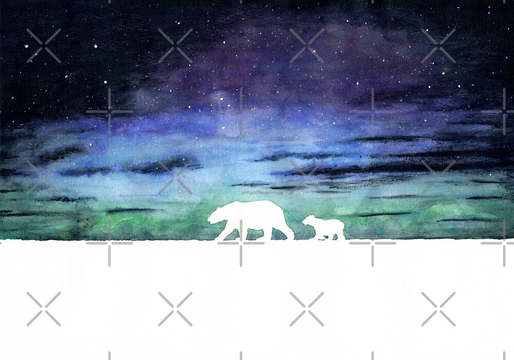 Aurora borealis and polar bears (light version) by savousepate
