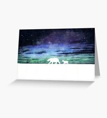 Aurora borealis and polar bears (light version) Greeting Card