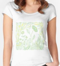Whimiscal Floral Doodle Art Design - Green and Yellow Women's Fitted Scoop T-Shirt