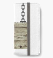 Old Color Wooden Board with Chain iPhone Wallet/Case/Skin