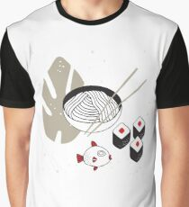Hand drawn noodles bowl with chopsticks Sushi Fish Asian cuisine Graphic T-Shirt