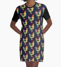 Chicken Love / Colorful Farm Chicken / Mama Hen (Mother, Mom, Mum, Mother's Day) Graphic T-Shirt Dress