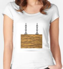 wood sign Women's Fitted Scoop T-Shirt