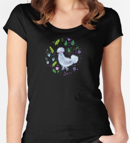 Glam Huhn Tailliertes Rundhals-Shirt