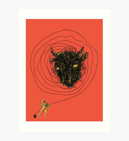 Theseus, the Minotaur, and the Thread Maze Art Print