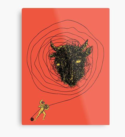 Theseus, the Minotaur, and the Thread Maze Metal Print