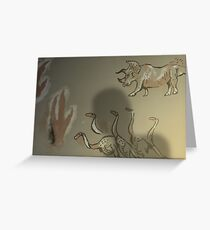 Dinosauroid Cave Painting - Speculative Evolution Greeting Card