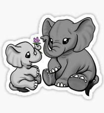 Mama and Baby Elephant Sticker