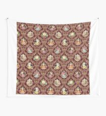 Teatime - Cats, Tea and Books Damask Wall Tapestry