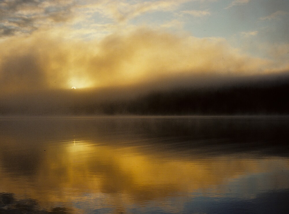 Golden Fog on Proulx Lake by bertspix