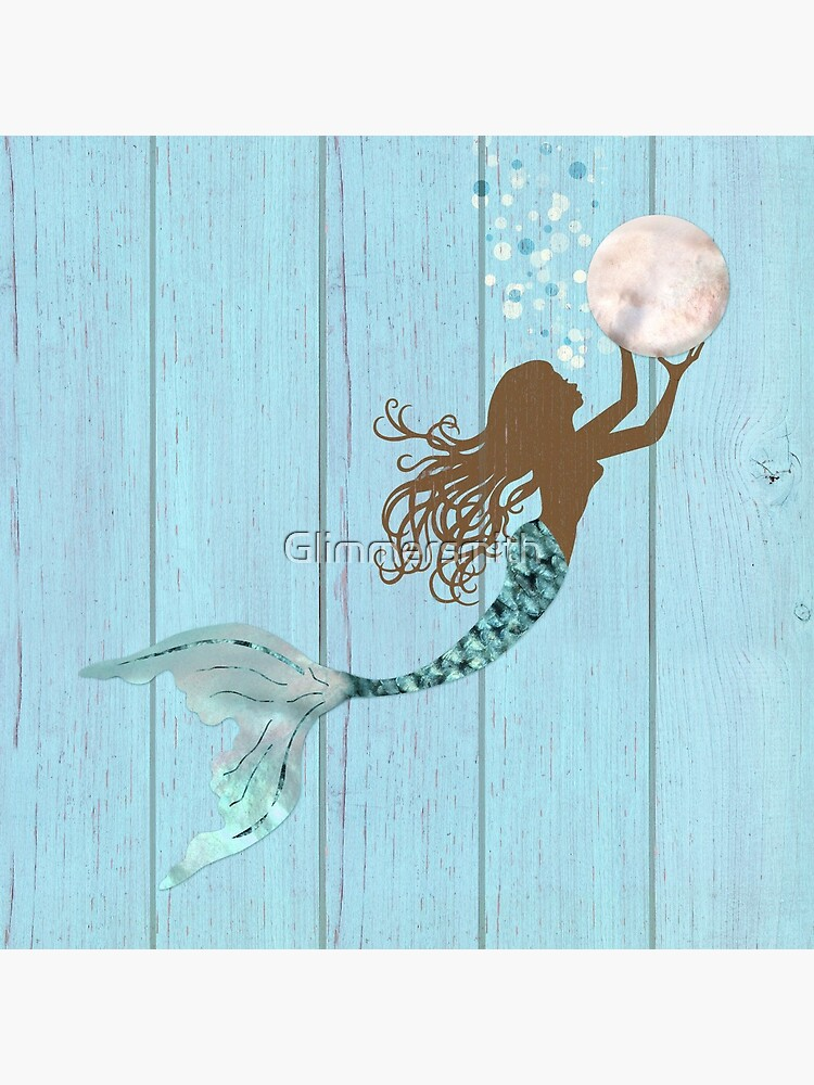 Mermaid of color gathering pearls brown siren holds a huge pearl by Glimmersmith