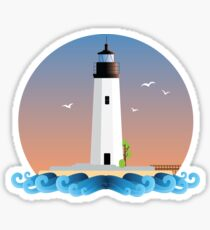 New Point Comfort Lighthouse - Flat Design Sticker