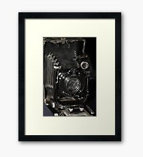 retro camera Large format black background Framed Print