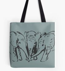 Baby Elephants in Ink Tote Bag