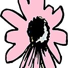 Retro pretty daisy pink black floral by HEVIFineart