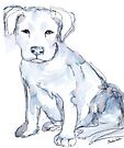 Pit Bull Puppy (for Kerry), watercolor by Kendra Shedenhelm
