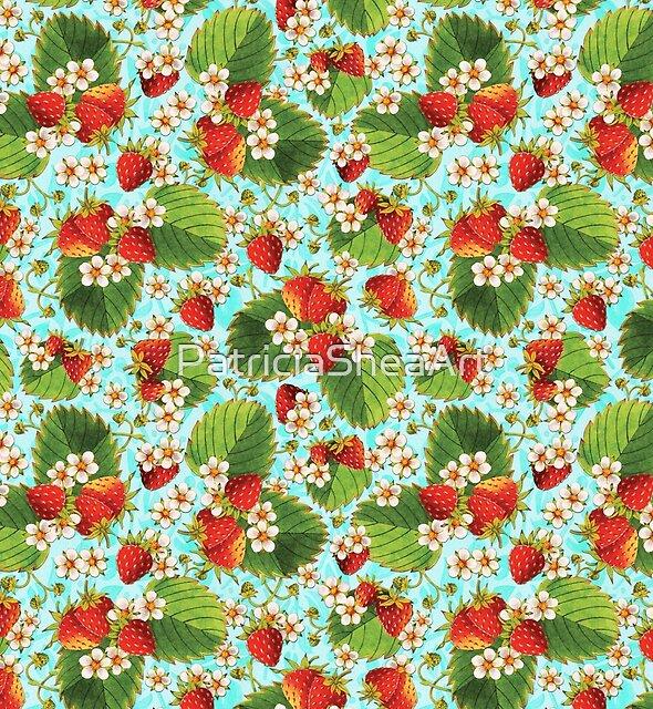 Retro Strawberries on Aqua by PatriciaSheaArt