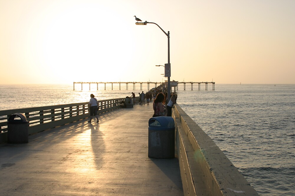 Sundown at the Ocean Beach Pier  by Van Deman Design