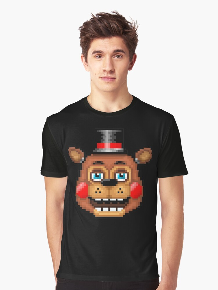 Five Nights at Freddy's 2 - Pixel art - Blue eyes Toy Freddy Graphic T-Shirt Front