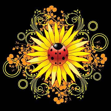 Ladybug Sunflower Paisley Pattern by halegrafx